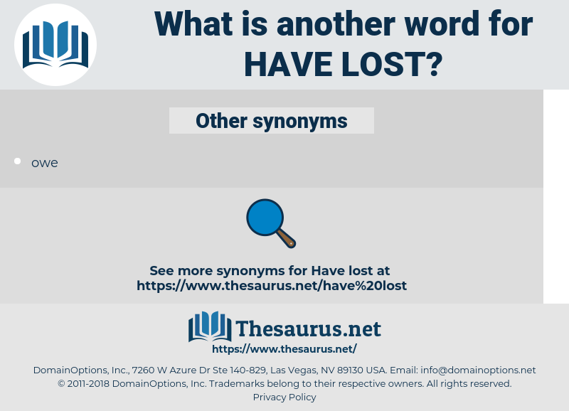 have lost, synonym have lost, another word for have lost, words like have lost, thesaurus have lost