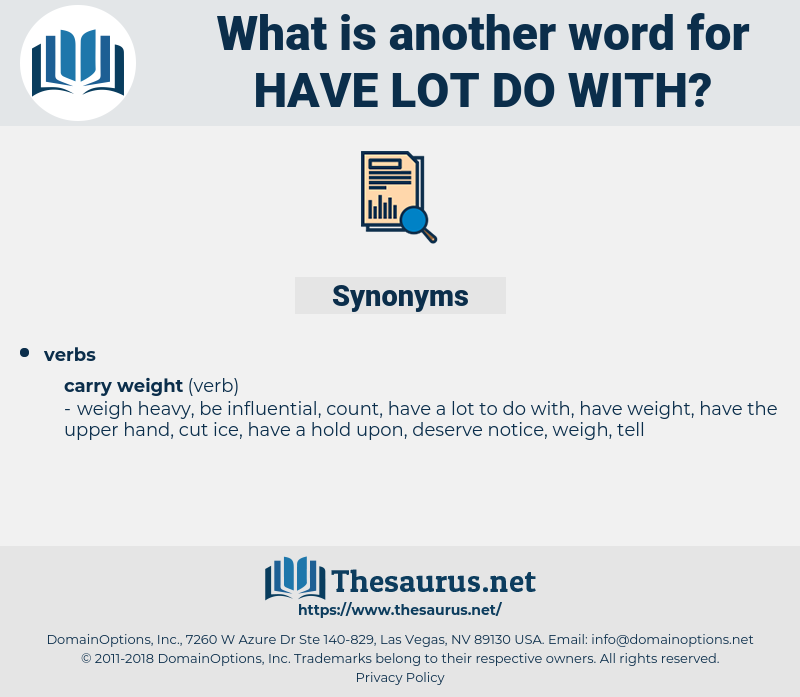 have lot do with, synonym have lot do with, another word for have lot do with, words like have lot do with, thesaurus have lot do with