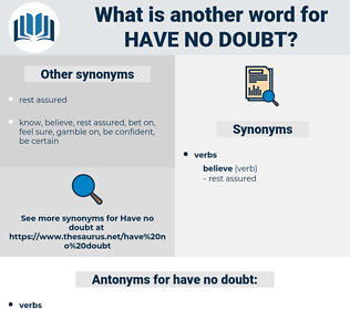 have no doubt, synonym have no doubt, another word for have no doubt, words like have no doubt, thesaurus have no doubt