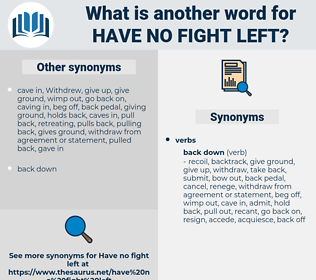 have no fight left, synonym have no fight left, another word for have no fight left, words like have no fight left, thesaurus have no fight left