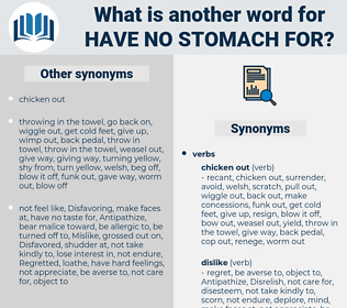 have no stomach for, synonym have no stomach for, another word for have no stomach for, words like have no stomach for, thesaurus have no stomach for