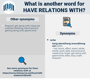 have relations with, synonym have relations with, another word for have relations with, words like have relations with, thesaurus have relations with