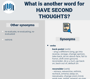 have second thoughts, synonym have second thoughts, another word for have second thoughts, words like have second thoughts, thesaurus have second thoughts