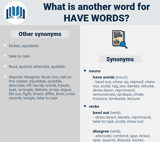 have words, synonym have words, another word for have words, words like have words, thesaurus have words