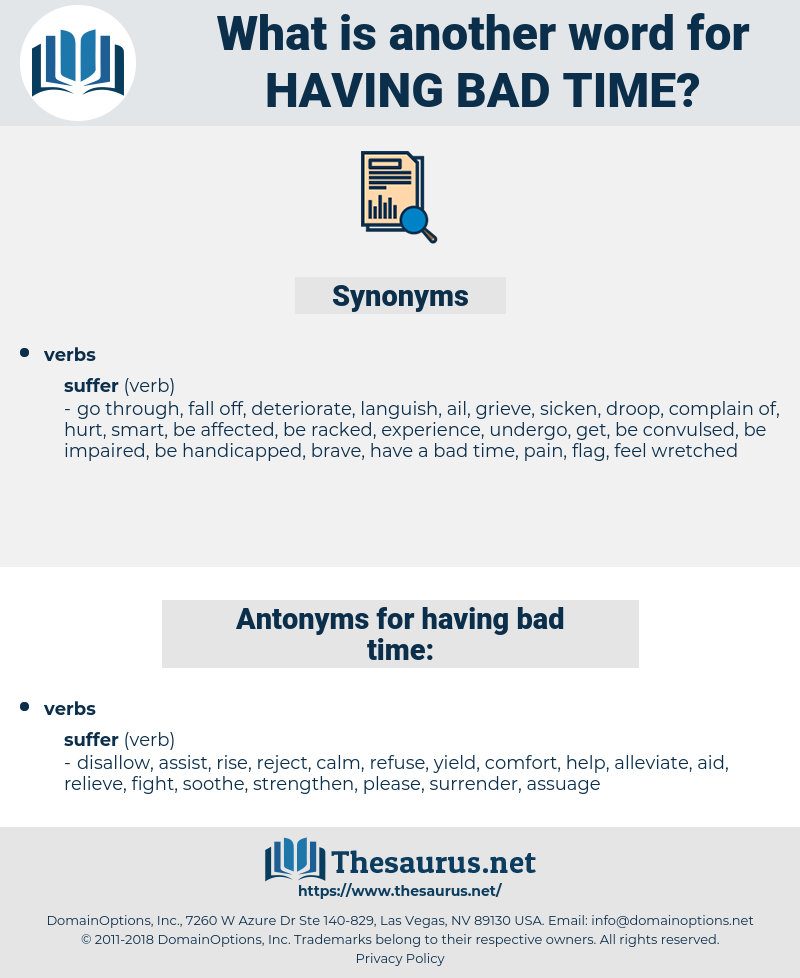 having bad time, synonym having bad time, another word for having bad time, words like having bad time, thesaurus having bad time