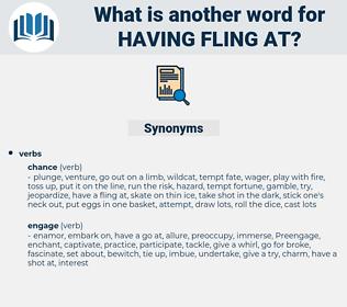 having fling at, synonym having fling at, another word for having fling at, words like having fling at, thesaurus having fling at