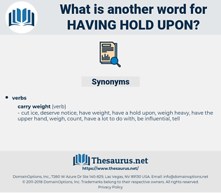 having hold upon, synonym having hold upon, another word for having hold upon, words like having hold upon, thesaurus having hold upon