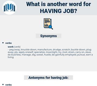 having job, synonym having job, another word for having job, words like having job, thesaurus having job