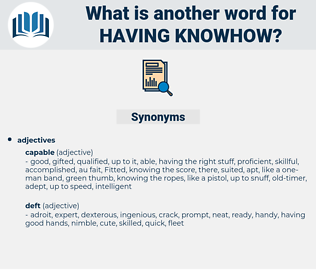 having knowhow, synonym having knowhow, another word for having knowhow, words like having knowhow, thesaurus having knowhow