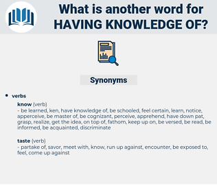 having knowledge of, synonym having knowledge of, another word for having knowledge of, words like having knowledge of, thesaurus having knowledge of