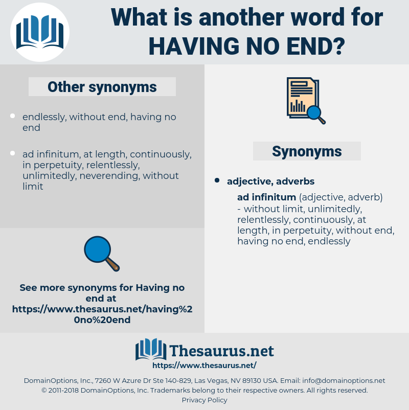 having no end, synonym having no end, another word for having no end, words like having no end, thesaurus having no end