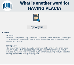 having place, synonym having place, another word for having place, words like having place, thesaurus having place