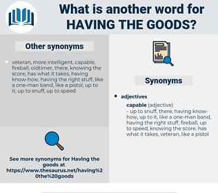 having the goods, synonym having the goods, another word for having the goods, words like having the goods, thesaurus having the goods