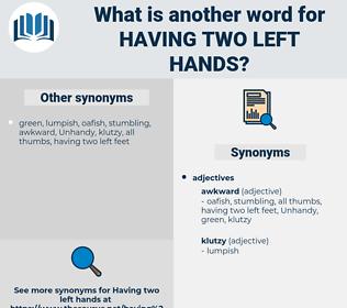 having two left hands, synonym having two left hands, another word for having two left hands, words like having two left hands, thesaurus having two left hands