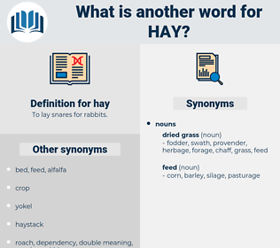 hay, synonym hay, another word for hay, words like hay, thesaurus hay