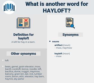 hayloft, synonym hayloft, another word for hayloft, words like hayloft, thesaurus hayloft