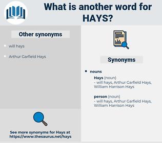 hays, synonym hays, another word for hays, words like hays, thesaurus hays