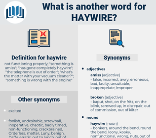 haywire, synonym haywire, another word for haywire, words like haywire, thesaurus haywire
