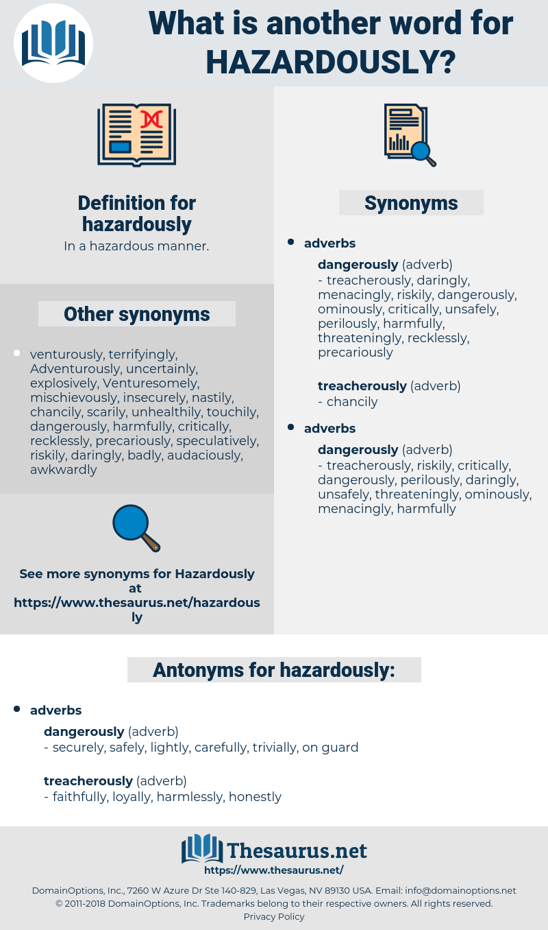 hazardously, synonym hazardously, another word for hazardously, words like hazardously, thesaurus hazardously