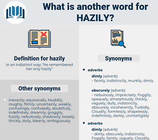 hazily, synonym hazily, another word for hazily, words like hazily, thesaurus hazily