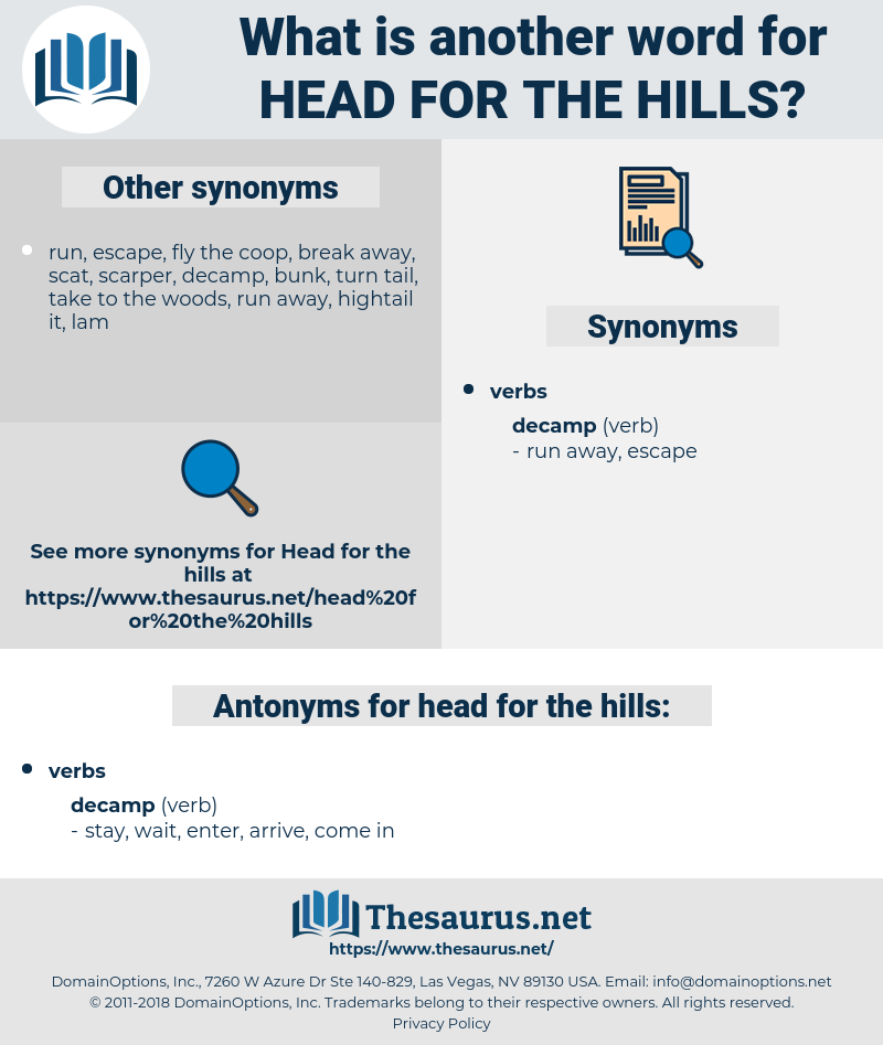 head for the hills, synonym head for the hills, another word for head for the hills, words like head for the hills, thesaurus head for the hills