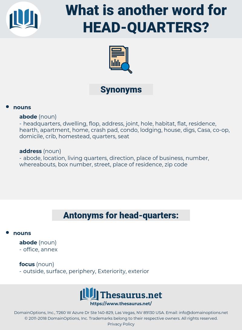 head-quarters, synonym head-quarters, another word for head-quarters, words like head-quarters, thesaurus head-quarters