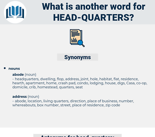 head-quarters, synonym head-quarters, another word for head-quarters, words like head-quarters, thesaurus head-quarters