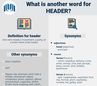header, synonym header, another word for header, words like header, thesaurus header
