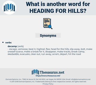heading for hills, synonym heading for hills, another word for heading for hills, words like heading for hills, thesaurus heading for hills