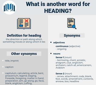 heading, synonym heading, another word for heading, words like heading, thesaurus heading