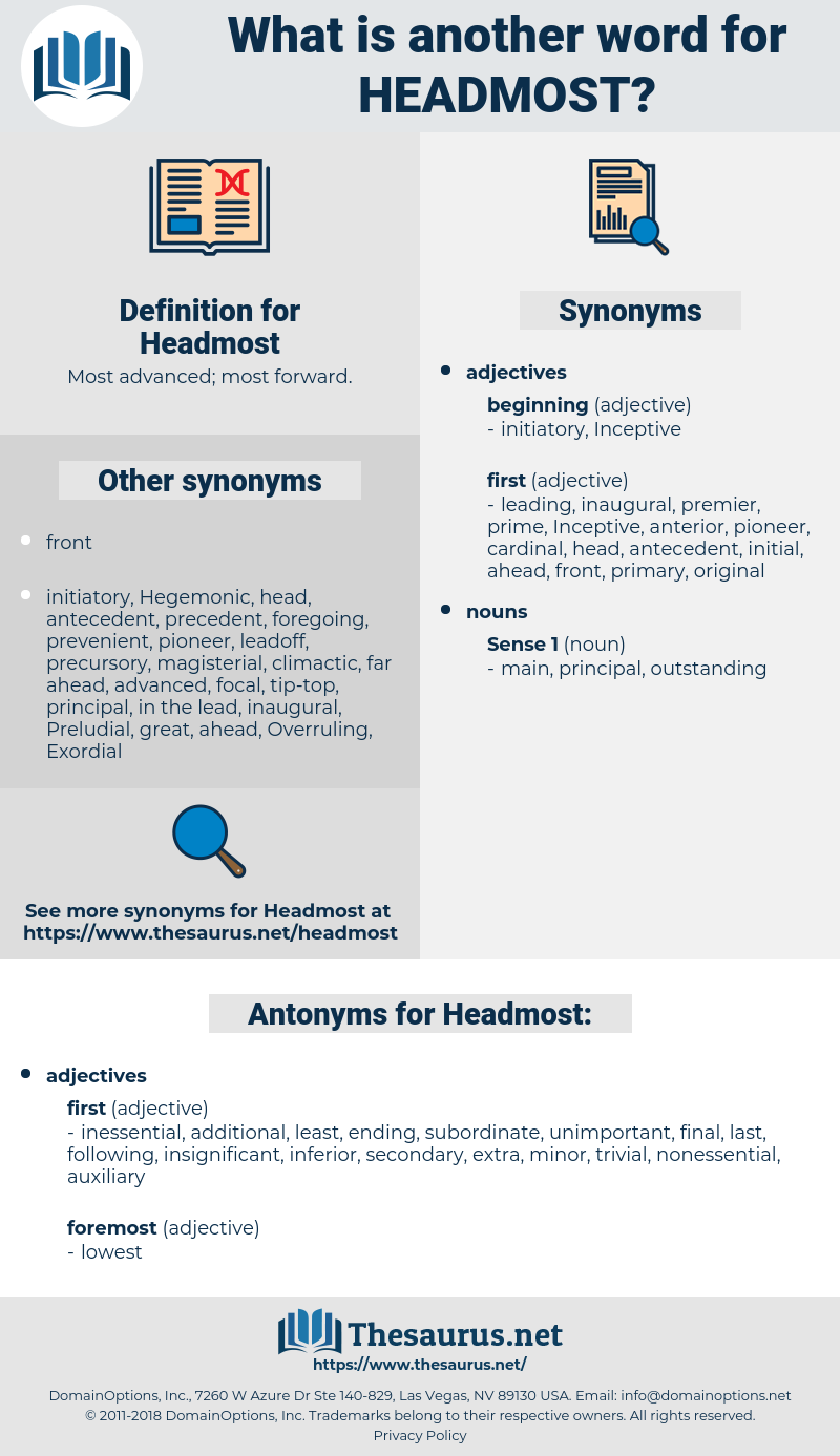 Headmost, synonym Headmost, another word for Headmost, words like Headmost, thesaurus Headmost