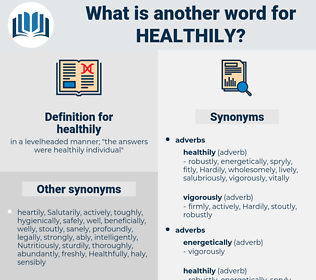 healthily, synonym healthily, another word for healthily, words like healthily, thesaurus healthily