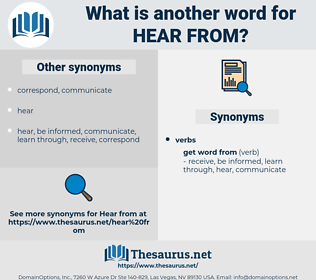 hear from, synonym hear from, another word for hear from, words like hear from, thesaurus hear from