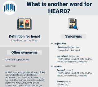 heard, synonym heard, another word for heard, words like heard, thesaurus heard