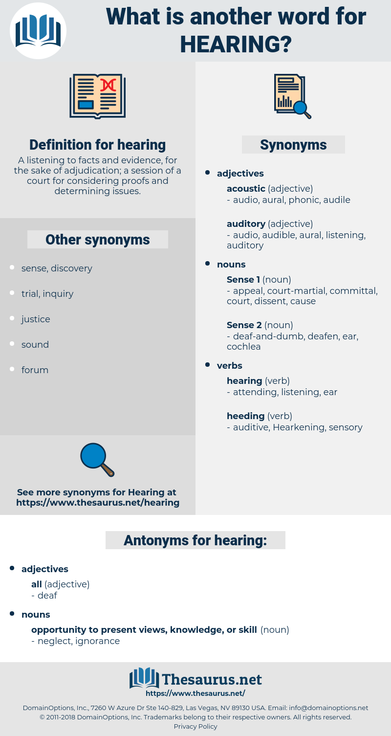 hearing, synonym hearing, another word for hearing, words like hearing, thesaurus hearing