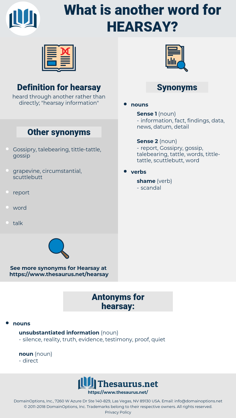 Synonyms for HEARSAY, Antonyms for HEARSAY - Thesaurus net