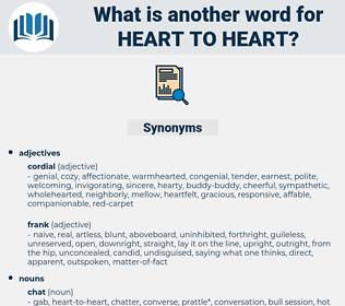 heart to heart, synonym heart to heart, another word for heart to heart, words like heart to heart, thesaurus heart to heart