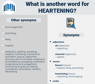 heartening, synonym heartening, another word for heartening, words like heartening, thesaurus heartening