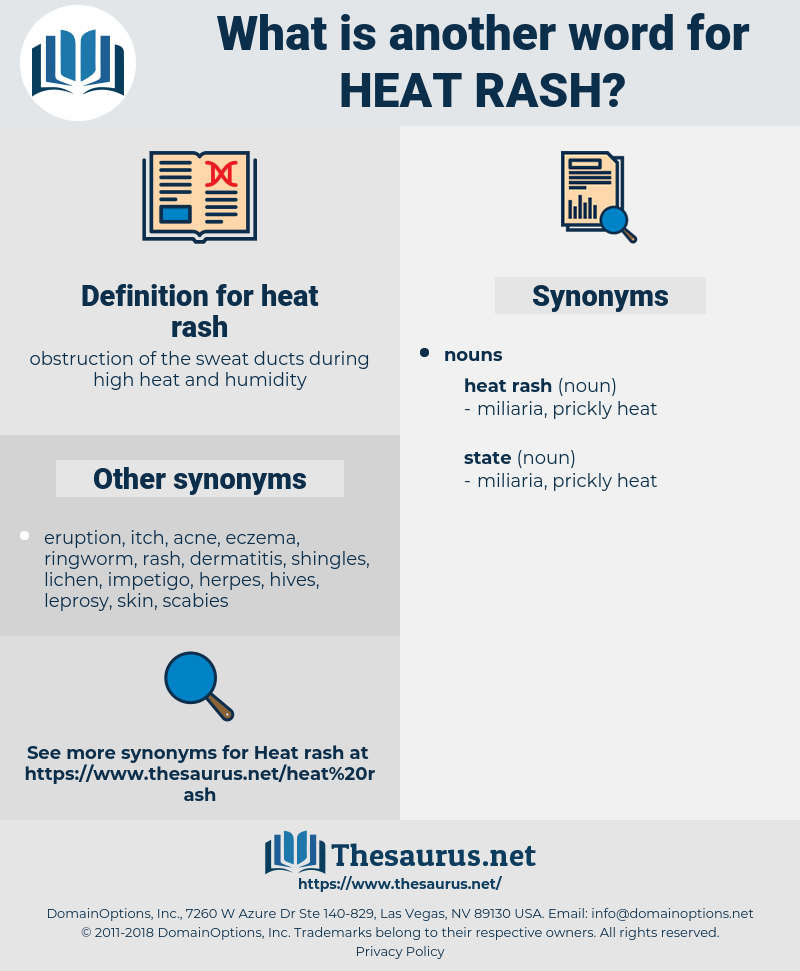 Synonyms for HEAT RASH - Thesaurus net