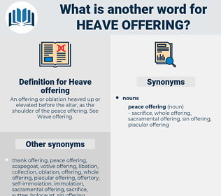 Heave offering, synonym Heave offering, another word for Heave offering, words like Heave offering, thesaurus Heave offering