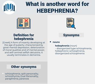 hebephrenia, synonym hebephrenia, another word for hebephrenia, words like hebephrenia, thesaurus hebephrenia