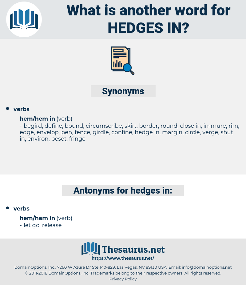 hedges in, synonym hedges in, another word for hedges in, words like hedges in, thesaurus hedges in