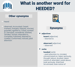 Heeded, synonym Heeded, another word for Heeded, words like Heeded, thesaurus Heeded