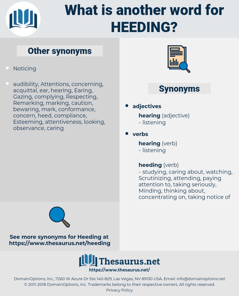 Heeding, synonym Heeding, another word for Heeding, words like Heeding, thesaurus Heeding
