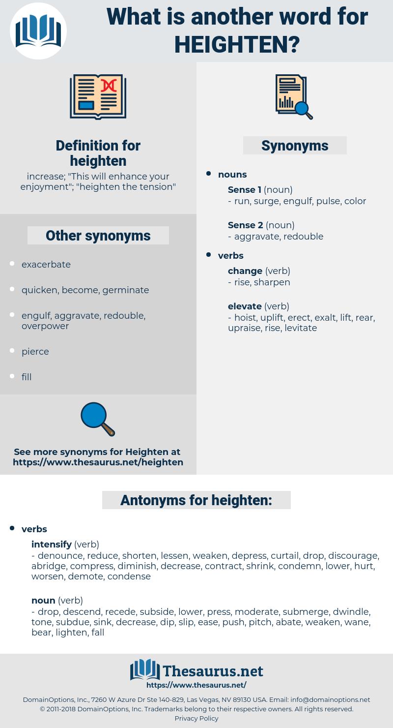 heighten, synonym heighten, another word for heighten, words like heighten, thesaurus heighten