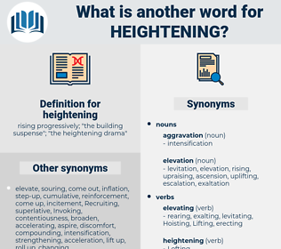 heightening, synonym heightening, another word for heightening, words like heightening, thesaurus heightening