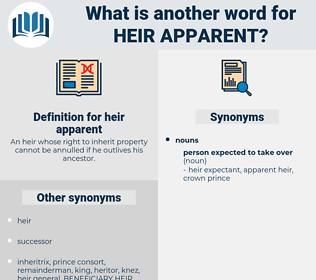 heir apparent, synonym heir apparent, another word for heir apparent, words like heir apparent, thesaurus heir apparent