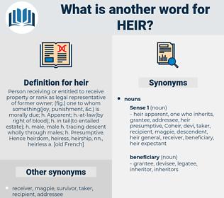 heir, synonym heir, another word for heir, words like heir, thesaurus heir