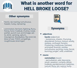 hell broke loose, synonym hell broke loose, another word for hell broke loose, words like hell broke loose, thesaurus hell broke loose