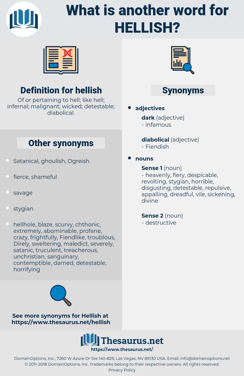 hellish, synonym hellish, another word for hellish, words like hellish, thesaurus hellish